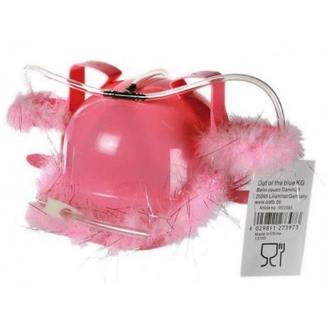 Kask do piwa z różowym futerkiem idealne na prezent Dla niej Przebrania i stylizacje