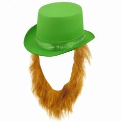 Irish hat for St Patrick's Day with brown beard