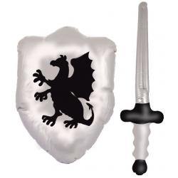 Hurtowa oferta Dmuchany miecz + tarcza - Przebrania i stylizacje