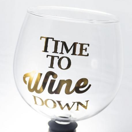 Hurtowa oferta Wkręcany Kieliszek - Time To Wine Down - Do Ręcznie zdobione kieliszki do wina