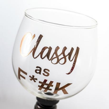 Hurtowa oferta Wkręcany Kieliszek - Classy As F**K - Do wina, szampana i martini Ręcznie zdobione kieliszki do wina