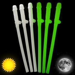 Glow In The Dark Willy Straws - 6 pcs