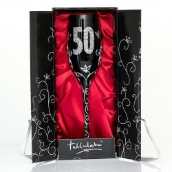 Czarny kieliszek do szampana na 50 urodziny