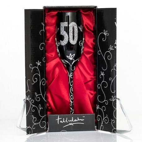 Hurtowa oferta Czarny kieliszek do szampana na 50 urodziny - Do Ręcznie zdobione kieliszki do wina