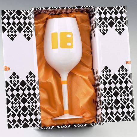 Hurtowa oferta Biały kieliszek do wina na 18 urodziny - Do wina, szampana i martini Ręcznie zdobione kieliszki do wina